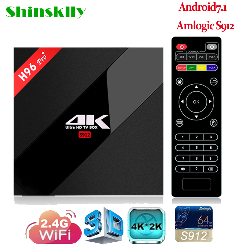 Shinsklly H96 pro + Android 7.1 TV BOX Amlogic S912 Octa Core RAM 3 GB + ROM 32 GB Smart tv box 2.4G WIFI 4 K Lecteur Multimédia SET TOP BOÎTE