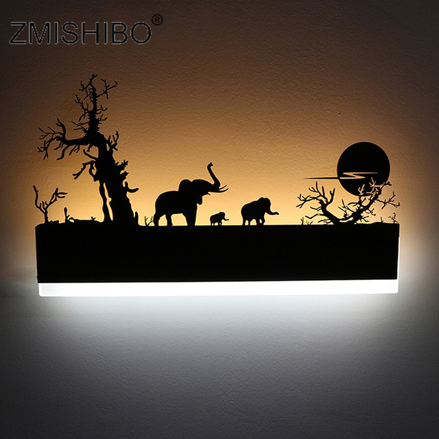 ZMISHIBO Modern Style LED Wall Lamps Creative Romantic Painting 16W 110V-240V Black Sconce Decoration For Living Room/Bedroom