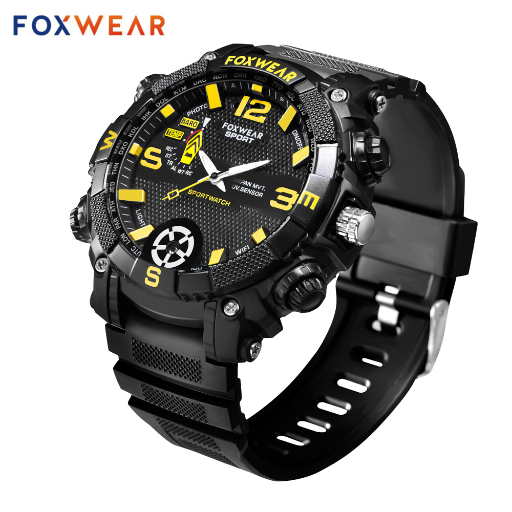 Fox 9 Smart Wifi Camera Watch HD 720P Video Recording P2P Remote Wifi Sport Motion Detection App Control IPX7 Led Lighting.