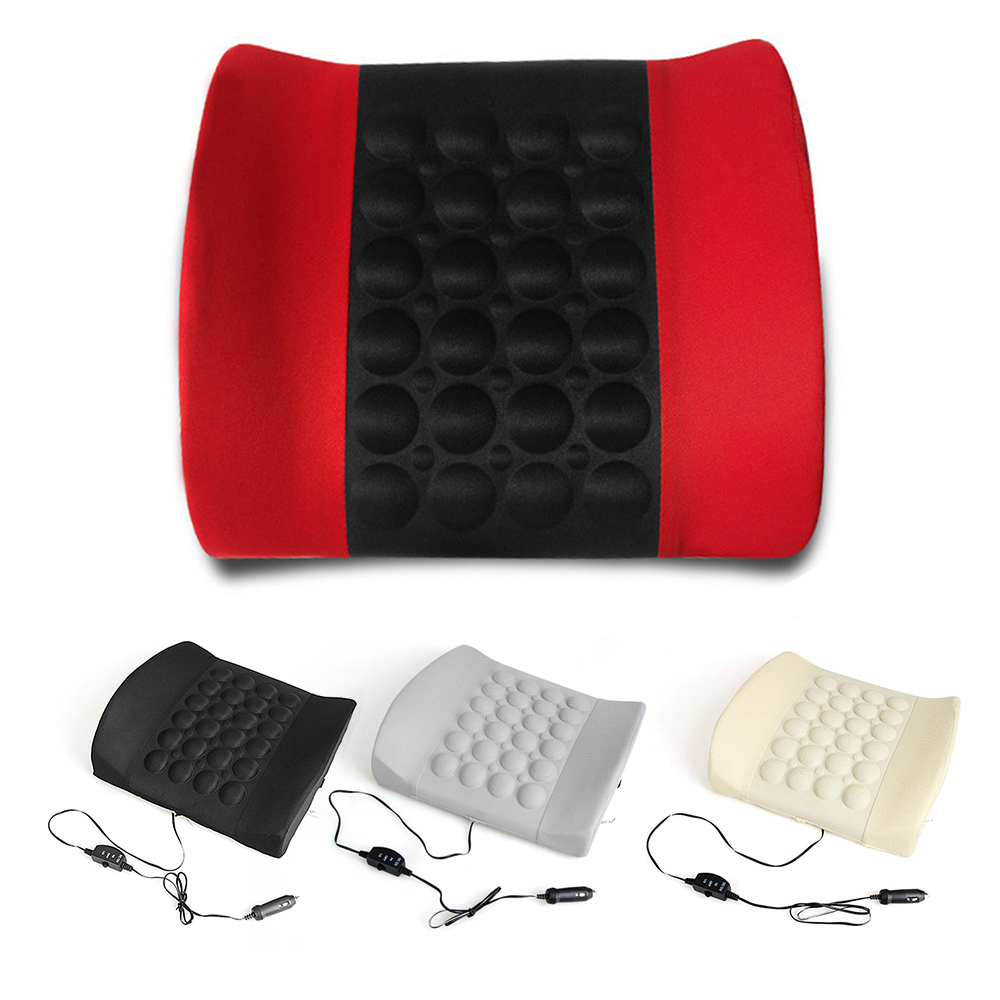 Car Electric Massage Lumbar Cushion Vibration Health Care Lumbar Pad Soft Back Support Cotton Pain Relief Portable Home Chair
