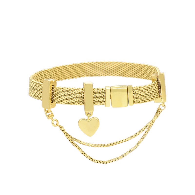 100 925 Sterling Silver Reflective Bracelet Heart shaped Charm Beads Bracelet Fit for Original Women s
