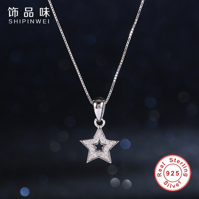 New Summer 925 sterling-silver-jewelry lucky Star Necklaces & Pendants Filled crystal Necklaces Women S925 Fashio Jewelry YX1343