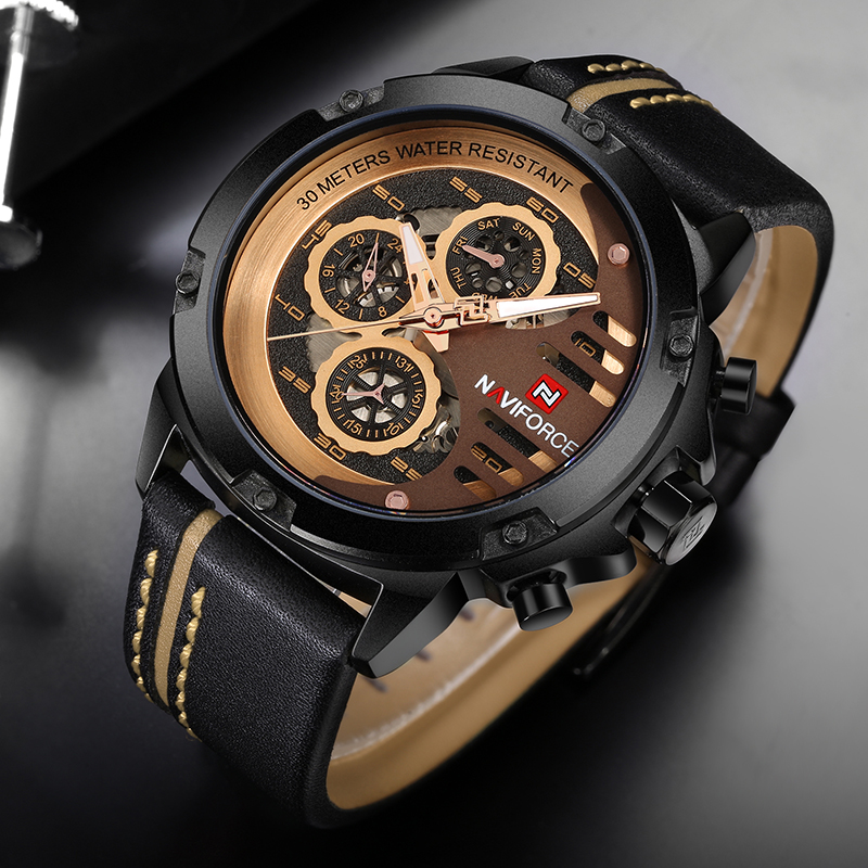 NAVIFORCE Mens Watches Top Brand Luxury Quartz Sport Watch Leather Skeleton Clock Men Fashion Waterproof WristWatch montre homme mce top brand mens watches automatic men watch luxury stainless steel wristwatches male clock montre with box 335