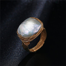 Original Handmade Near Round Freshwater Pearl Ring Baroque Style Gold Wire Wrapped Luxury Wedding For Women 2019