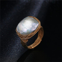 Original Handmade Near Round Freshwater Pearl Ring Baroque Style Gold Wire Wrapped Ring Luxury Pearl Wedding Ring For Women 2019