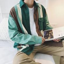 2017 autumn MEN Japanese new style literature stripe Color stitching long-sleeved shirt fashion cardigan High quality coat M-2XL