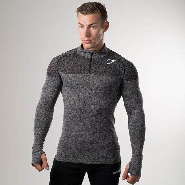 2017 New Arrival Shark Girdle T-Shirt Long Sleeve Men's Gymshark Bodybuilding and Fitness Men's Tank Shirt Clothing 5 Co