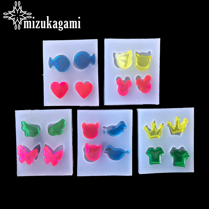 1pcs UV Resin Jewelry Liquid Silicone Mold Cartoon Animals/Heart Resin Charms Pendant Molds For DIY Intersperse Decorate Making