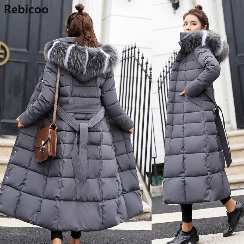 Cotton Hot Sale Solid Full Pockets Zippers Female Long Coat  New Slim Parka Padded Jacket Winter Thick Warm Windbreaker
