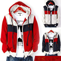 3 colors famous brand mens hoodies and sweatshirts Wholesale 2014 spring men's striped hooded man hoody clothing plus size M-5XL