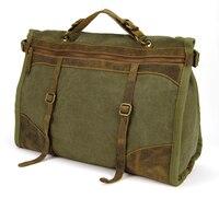 Men Vintage Genuine Leather Canvas bag Messenger Shoulder School Travel Bag Duffle Luggage Satchel Travel Tote Designer