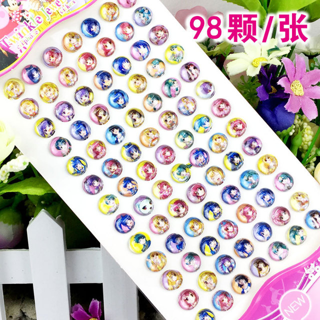 84pcs/lot Children's cartoon resin rhinestone stickers kindergarten reward gem stickers diy  acrylic eyebrow paste 2