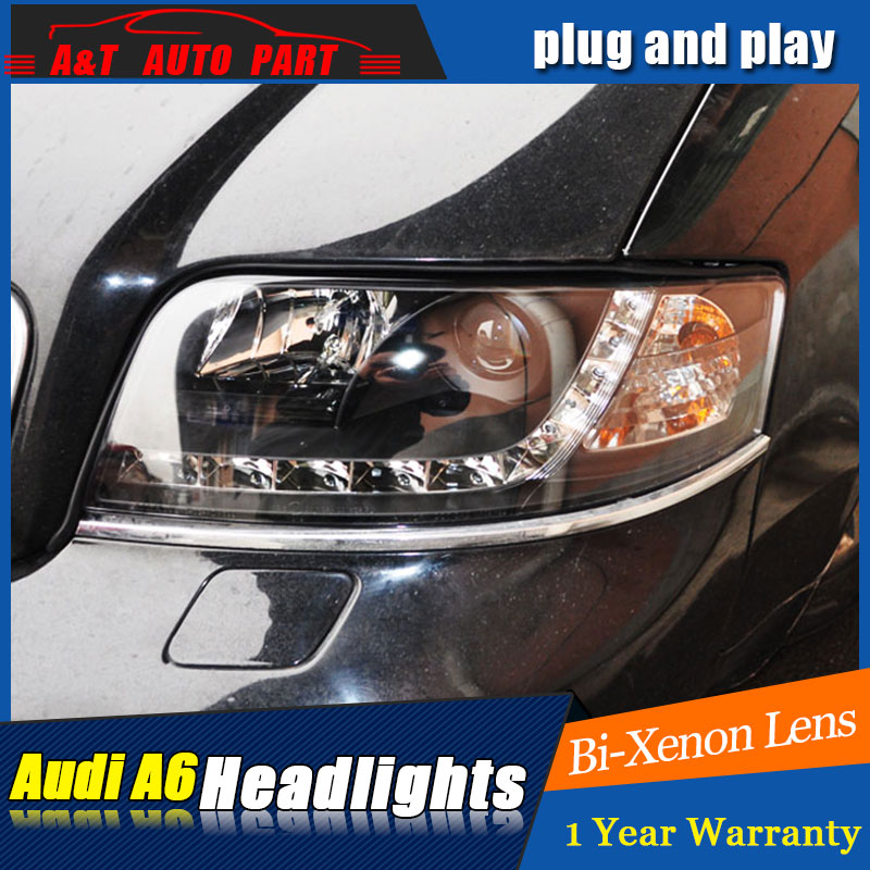 car Styling LED Head Lamp for AUDI A6 headlights 1999 2004 for A6 head light LED angle eyes drl H7 hid Bi Xenon Lens low beam