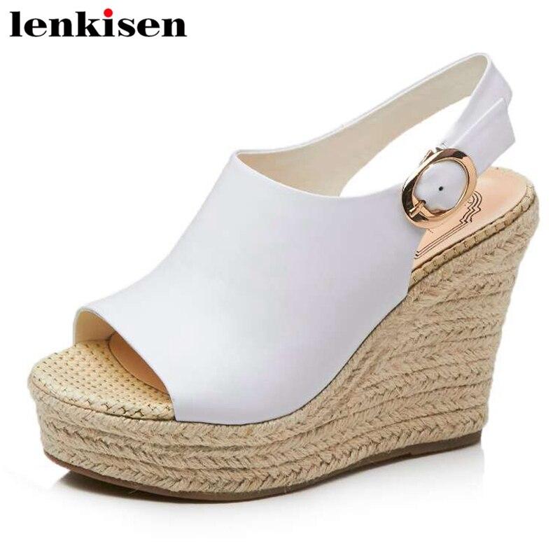 Lenkisen bonne perméabilité à l'air en cuir de vache boucle sangle super hauts talons wedge fête fée streetwear femmes sandales quotidiennes L79