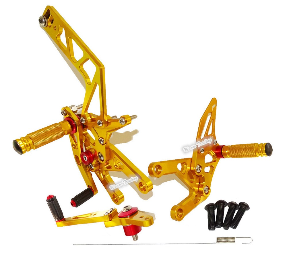 Waase CNC Aluminium Adjustable Rider Rear Sets Rearset Foot Rest Pegs Gold For Yamaha YZF R1 2015 2016