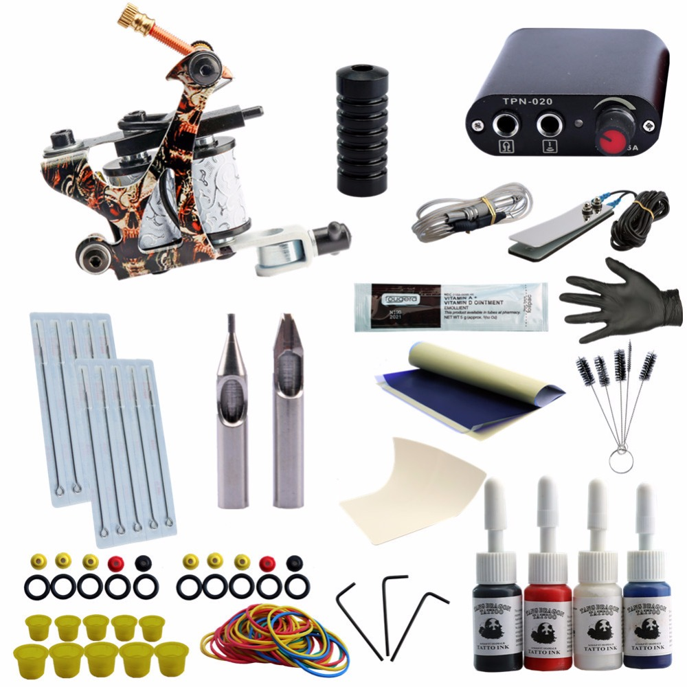 Tattoo Kit 4 Colors Tattoo Ink Sets Machines Set Black Power Supply Needles Permanent Make Up Professional Tattoo Kit Set hot tattoo kit full set accessary tattoo kit machine gun power supply needles grip tip ink