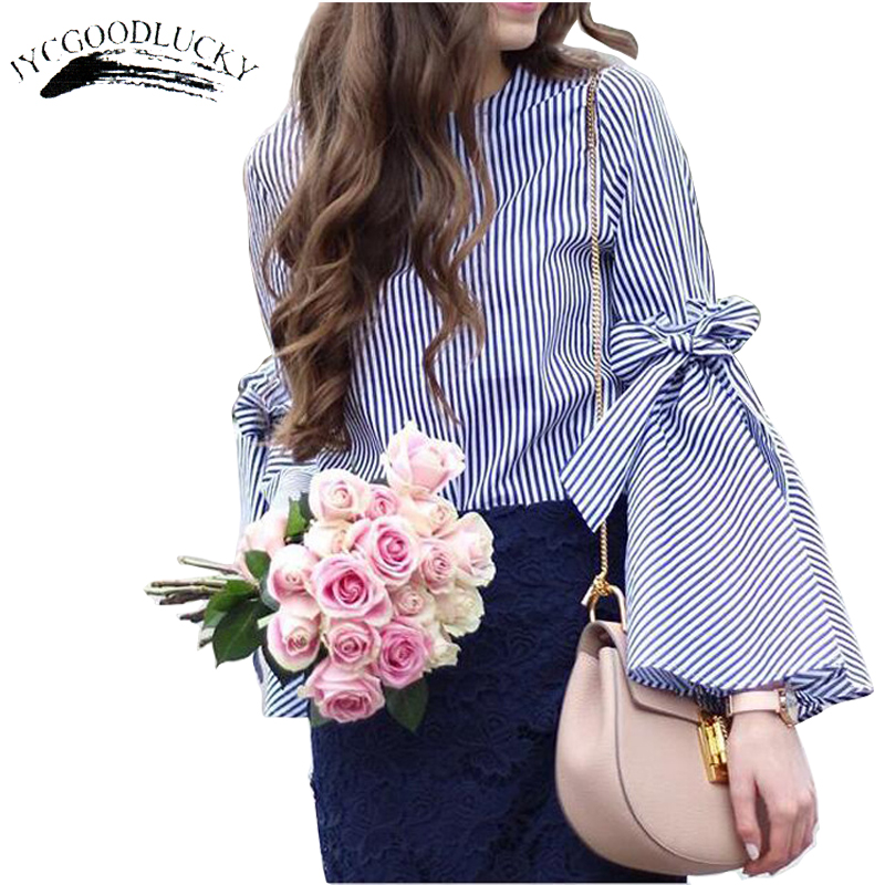 2017 Long Sleeve Striped Cute Blouse Shirts Female Fashion OL Style Shirt Women Simple Casual Tops Women Blusas Kimono Top