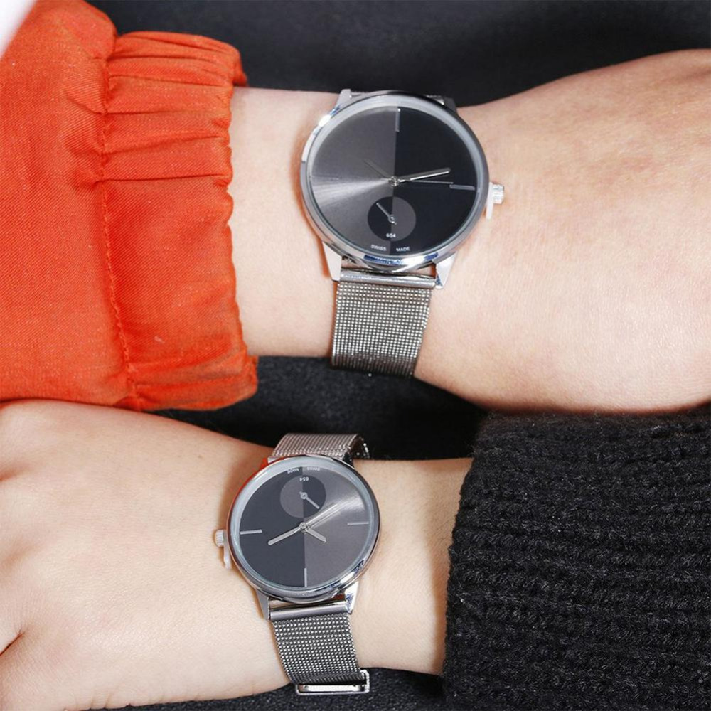Mesh Band Couple WristWatch Lover's Simple Casual Watch Fashion Stainless Steel Gadget Unisex Male Clock Hodinky Quartz Watches
