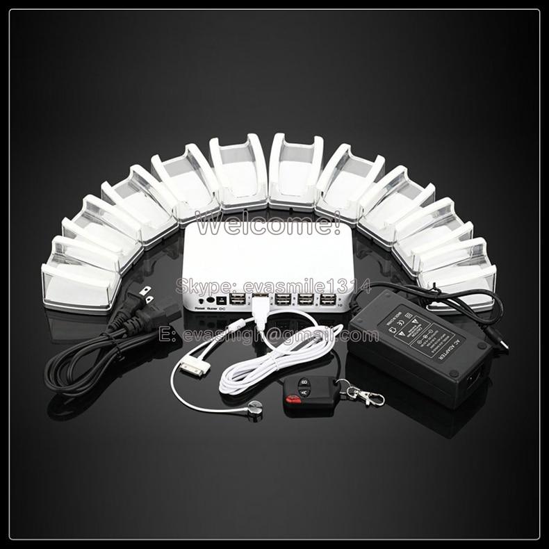 10 dans 1 de charge mobile téléphone portable système de sécurité alarme tablet support d'affichage avec andriod apple câbles et acrylique stand