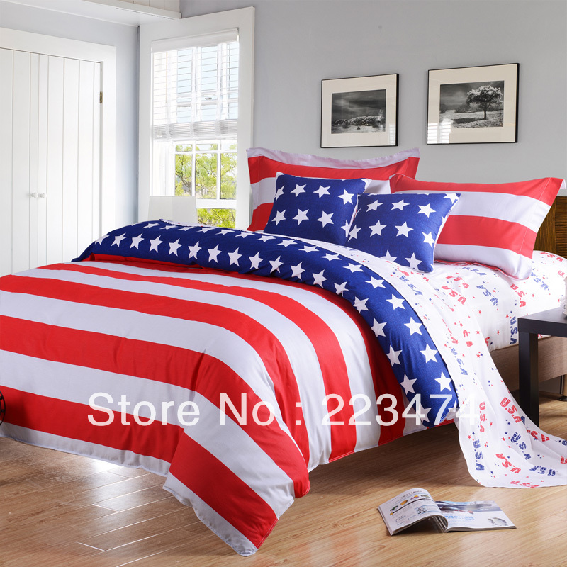Free freeshipping american flag bedding sets queen size king size bed sheets comforter cover Queen size bed and mattress set