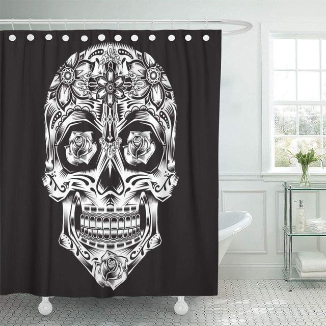 Eco Friendly Shower Curtain With Hooks Tattoo Skull Flowers Graphics Bandana Tatoo Rose Hipster Eyes Dotwork Detailed