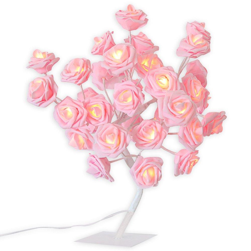 24 led rosa rosa flor lampada de mesa decoracao para casa rosa arvore luz da noite