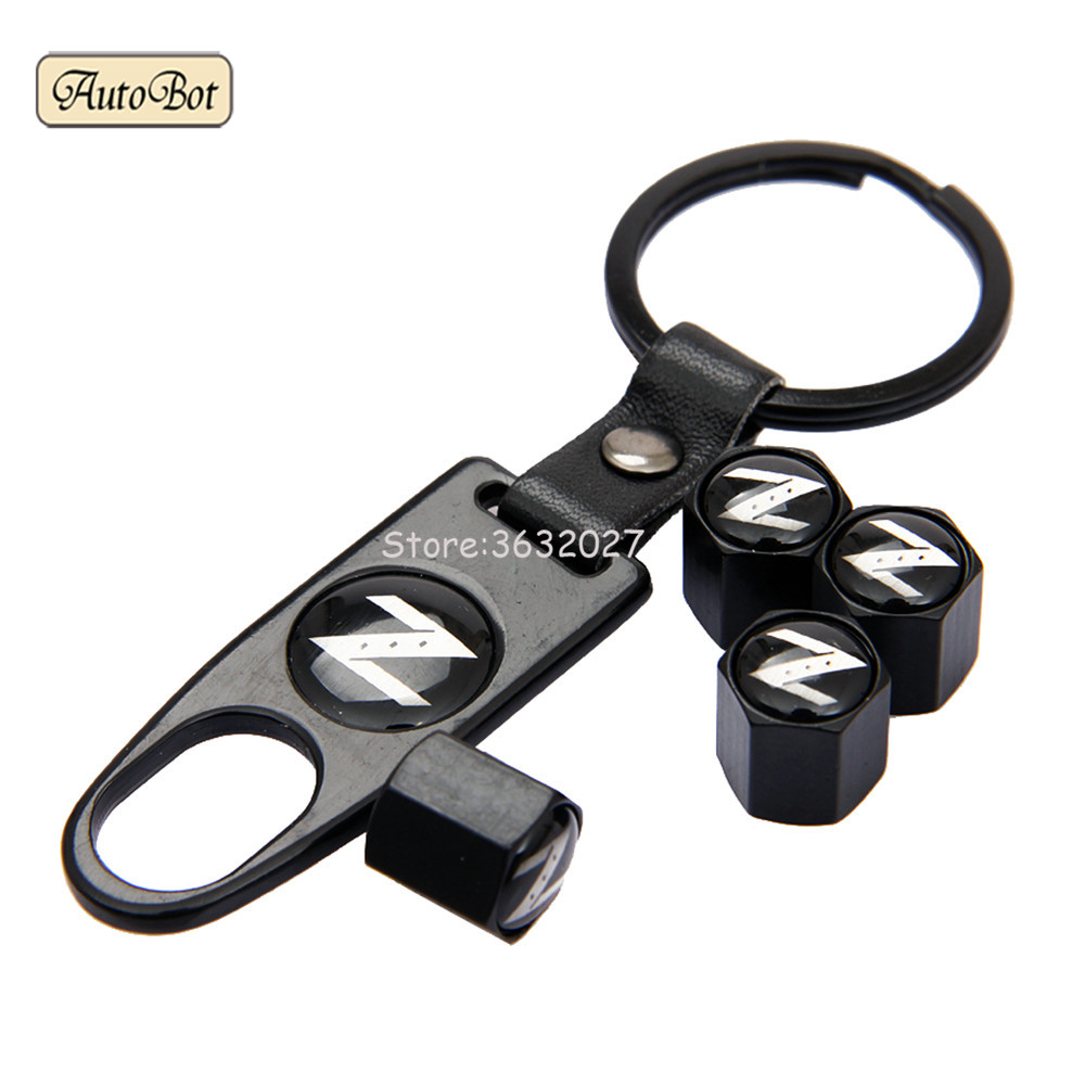 Tire Valve Cap With Leather Keychain For Nissan Z Logo 240ZX 280ZX 300ZX Rogue Murano Frontier Note Serena Skyline Livina Praire