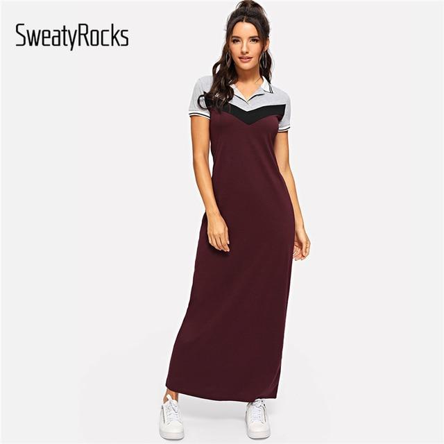 SweatyRocks kolor bloku sznurów haczykowych sukienka Polo Streetwear kobiety z krótkim rękawem odzież codzienna 2019 lato burgundii koszuli Maxi sukienki