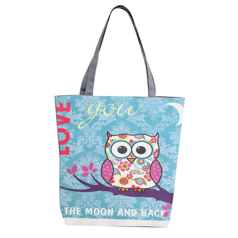 0ac4a1496393 Милые с принтом Совы Повседневное Холст сумка кошелек сумка большая Ёмкость  женский хозяйственная сумка женская пляжная