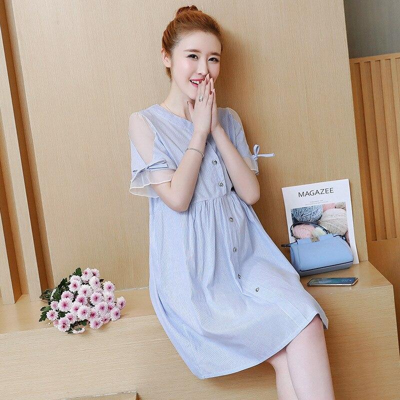 BONJEAN New Arrinal Maternity Dress Summer Striped Maternity Clothes For Pregnant Women Short Sleeve Pregnant Women Dress