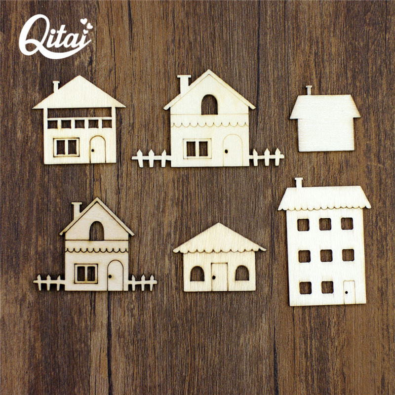 QITAI 18pcs Wooden Slices House Shaped Creative DIY Wood Crafts Decorations Pendants Embellishments Home Handmade Craft WF261