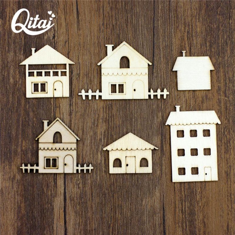 QITAI 18pcs Holzscheiben Hausförmige kreative DIY Holz Handwerk Dekorationen Anhänger Verzierungen Home Handmade Craft WF261