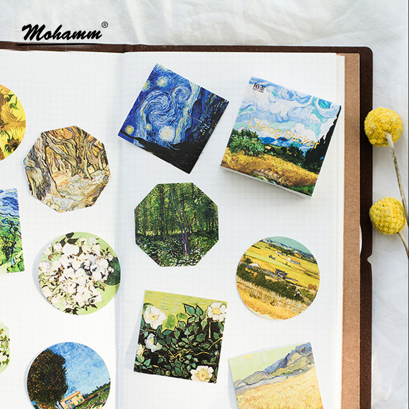 45 Pcs/lot Cute Van Gogh Oil Painting Mini Paper Sticker Decoration Diy Ablum Diary Scrapbooking Label Sticker Kawaii Stationery