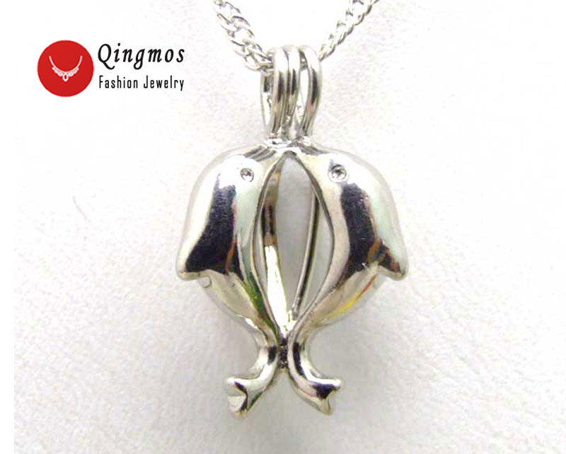 все цены на Qingmos 20mm Kiss Dolphin Cage Pendant Wish Pearl Chokers Necklace for Women Oyster Love Pearl Pendant Necklace Gift Box-