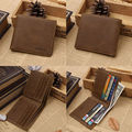 2016 New RFID ID Leather Wallet Security Bifold Men's Business Clutch Wallet With Coins Purse Pockets Money Bag Coffee