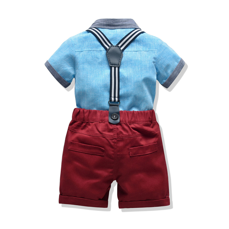 Kids Baby Boys Suit Sets Summer New Blue Shirt +Red Shorts Jumpsuits Birthday Party Gift Children's Formal Clothing 12 3 4 Years 2