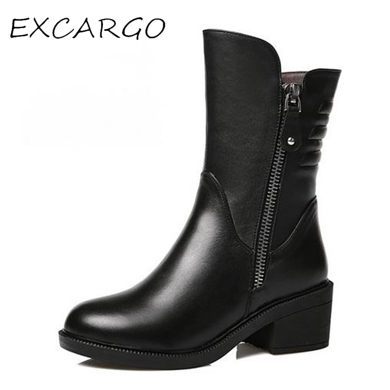 2017 New Women Genuine Leather Mid-Calf Boots Warm Plush Winter Boots 5.5cm Mid Heel Rubber Sole High Quality Female Shoes double buckle cross straps mid calf boots