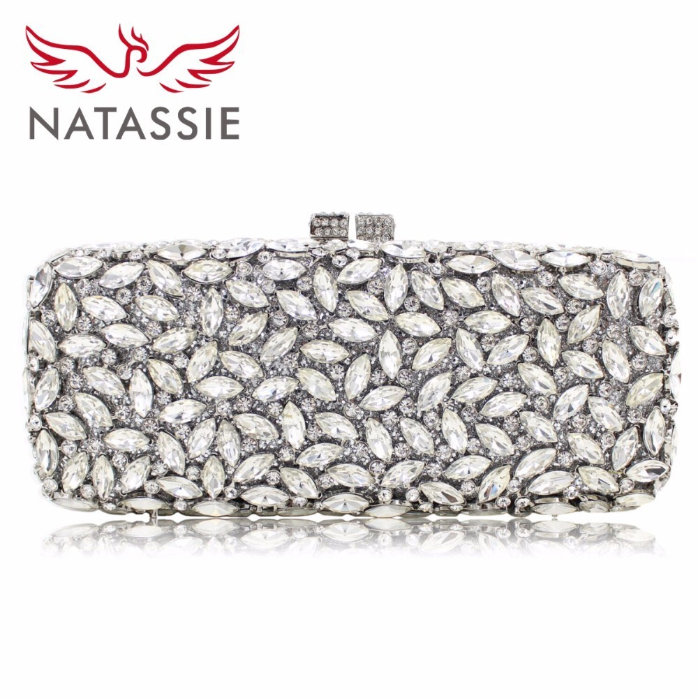 NATASSIE Women Purse Evening Bags Ladies Silver Clutch Female Wedding Bag Gold Clutches natassie women crystal clutches bags ladies evening bag female red purple party clutch wedding purse