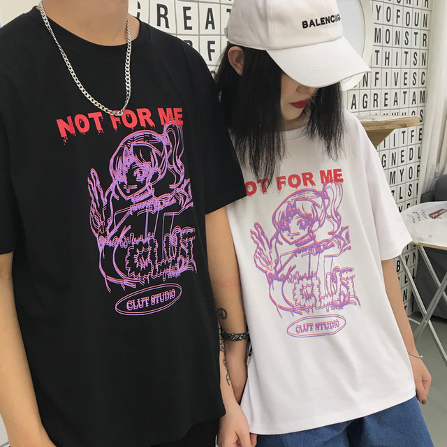 Korean Street Fashion Letter Japan Sailor Girl Character Print Short Sleeve Loose Tee Shirt Top Summer 90s Sweet Pretty T-shirts 4