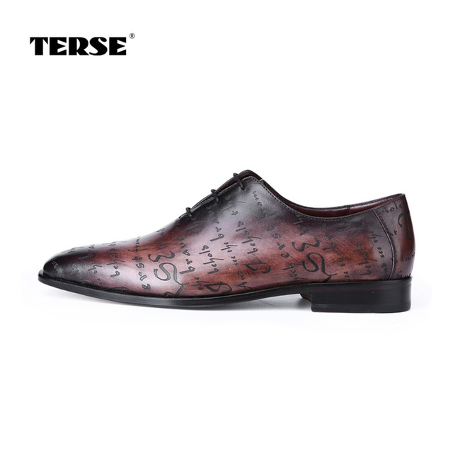 TERSE_Vintage leather dress shoes mens handmade goodyear welted oxford shoes with engraving patina flat shoes T815770N0002