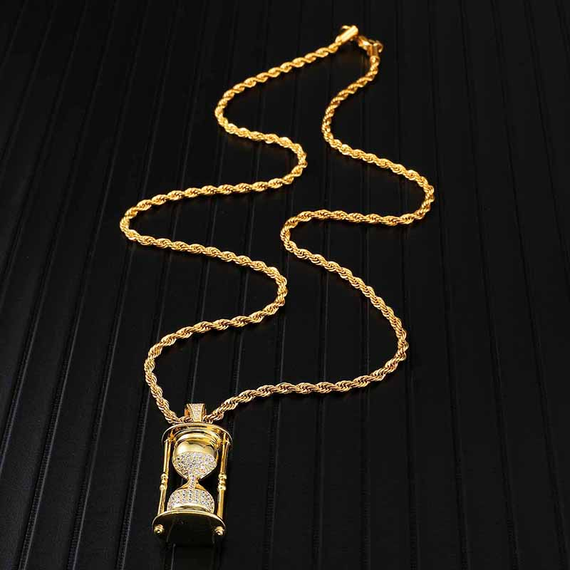 Full Iced Out Zirconia CZ Bling Hourglass Cubic Necklace Rhinestone Rope Chain Pendants Necklaces For Men Hip Jewelry in Pendant Necklaces from Jewelry Accessories