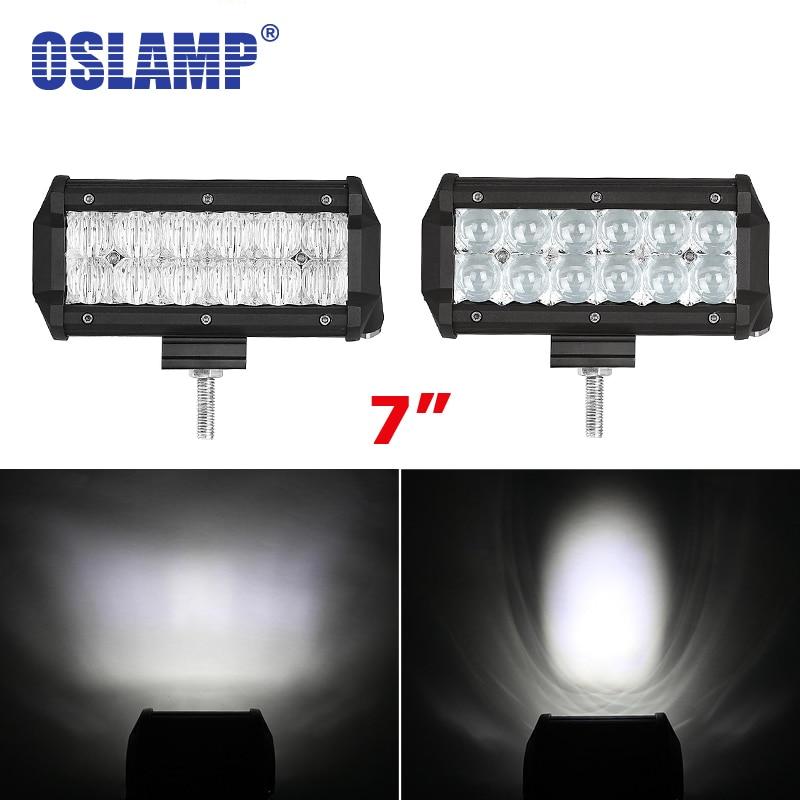 цена на Oslamp 60W 5D Led Chips Spot/Flood Work Light 7 Auto Driving Headlight 12/24V Led Work Light Bar for Car SUV ATV RZR Truck