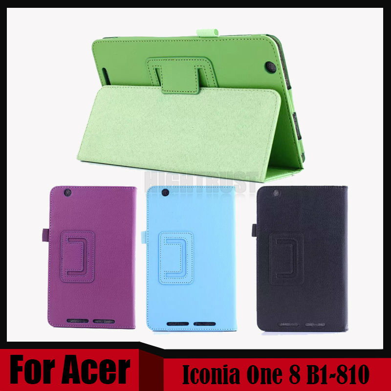 все цены на 3 in 1 Ultra Slim Litchi Stand Folio PU Leather Tablet Cover Case For Acer Iconia One 8 B1-810 B1 810 + Stylus + Screen Film онлайн
