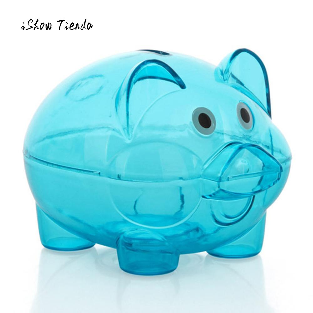 Lovely Piggy Bank Money Box Saving Coins Cash Fun Gift Plastic Pig Safe Transparent Kid Money Jar Cute Pig Gift For Children