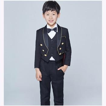 Tailcoat Shawl Lapel Children boy Suit Tuxedo Black/White Kid Wedding Prom Suits For Little Gentlemen boys (Jacket+Vest+Pants)