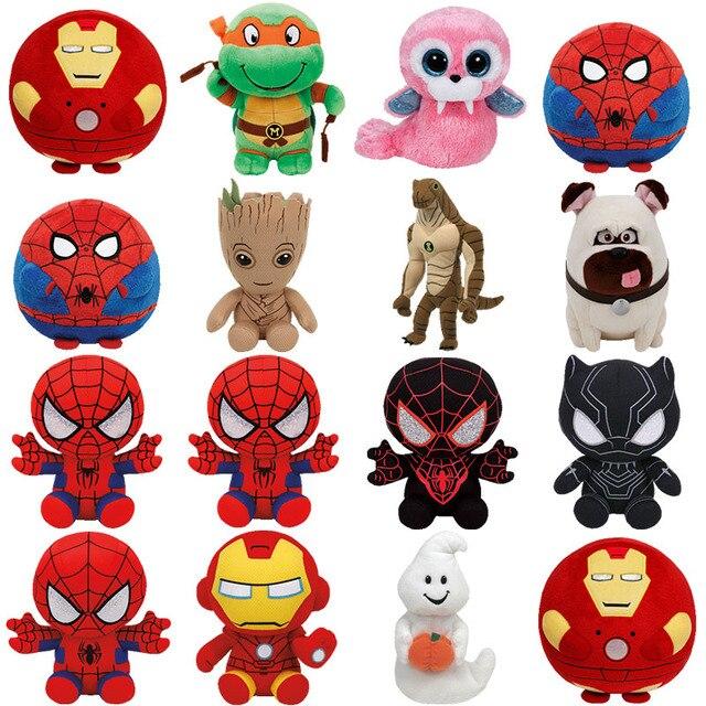 Maravilha TY Beanie Do Bebê Homem-Aranha, Hulk, homem de ferro & Capitão América Kawaii Bichos de pelúcia Bonecas Brinquedos Para As Crianças