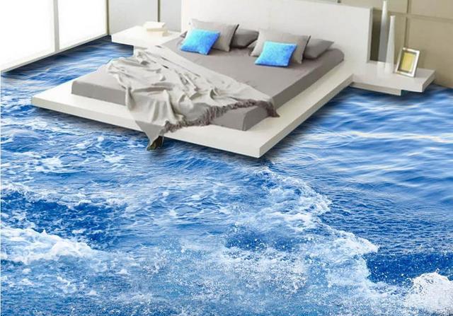 Vinyl Flooring Adhesives Custom Mural Pvc Surface Waves Waterproof Wall Paper Bedroom Wallpaper