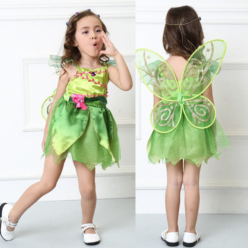 Kids Baby Girls For Halloween Costumes Green Elf Dress TinkerBell Princess Cosplay Costume Flower Fairy Princess Dress with Wing