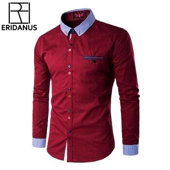 Модная мужская одежда рубашки Slim Fit Повседневная рубашка Для мужчин уникальные пуговицы и вырез Для мужчин s рубашка с длинными рукавами дел... >>
