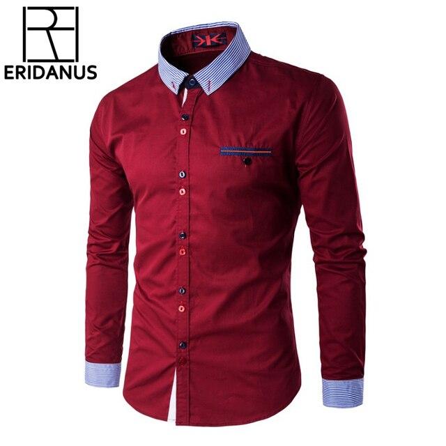 26ccbb1de أزياء رجالي اللباس قمصان سليم صالح الرجال القميص عادية زر فريد وخط العنق رجالي  قميص طويل
